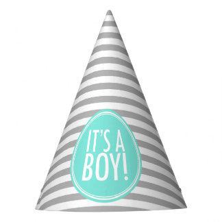 It's a Boy Gray Stripes and Blue Party Hat