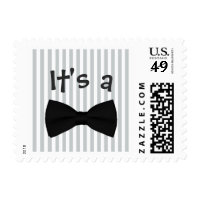 It's a Boy Gray Stripes Bow Tie Baby Shower Stamps