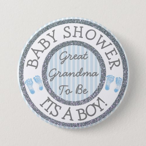 Its a Boy Great Grandma to be Baby Shower Button