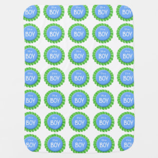 It's a Boy Green and Blue Button Stroller Blanket
