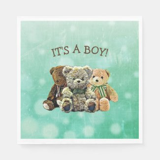 It's a Boy, Green and Brown Teddy Bear Baby Shower Napkins