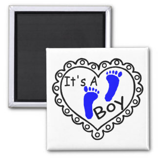 Its A Boy Heart Blue Footprints 2 Inch Square Magnet