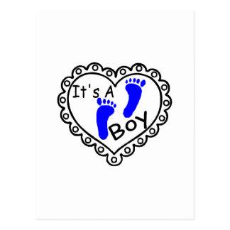 Its A Boy Heart Blue Footprints Postcard