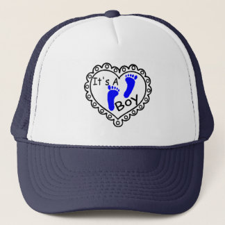 Its A Boy Heart Blue Footprints Trucker Hat