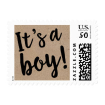 It's A Boy Kraft Colored Postage Stamp