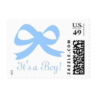 It's a boy light blue bow baby shower stamps