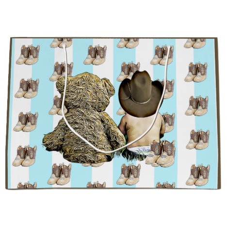 It's a Boy Lil Cowboy Baby and Teddy Bear Large Gift Bag