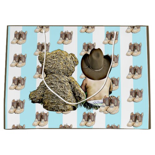 Its a Boy Lil Cowboy Baby and Teddy Bear Large Gift Bag