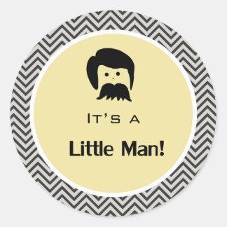 It's a boy, little man yellow chevron stickers. round sticker