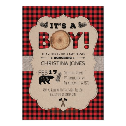 It's A Boy Lumberjack Baby Shower Invitation