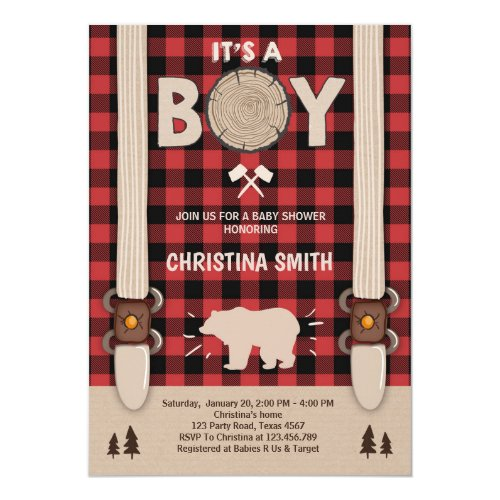 It's a boy Lumberjack Baby shower invitation boy