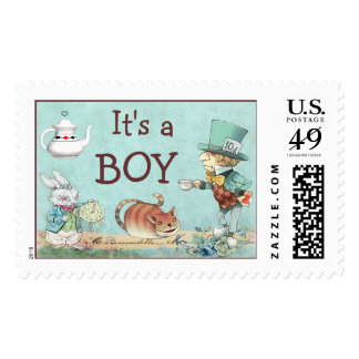 It's a Boy Mad Hatter's Tea Party Baby Shower Postage Stamps