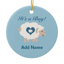 It's a Boy! Mama Sheep Ceramic Ornament