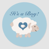 It's a Boy! Mama Sheep Classic Round Sticker