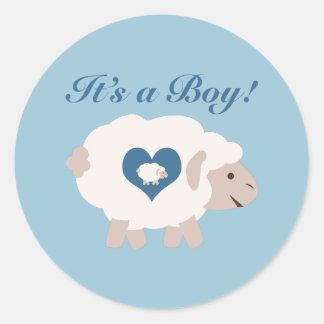 It's a Boy! Mama Sheep Classic Round Sticker