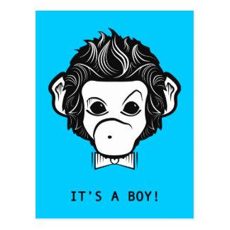 it's a boy! mister monkey postcard