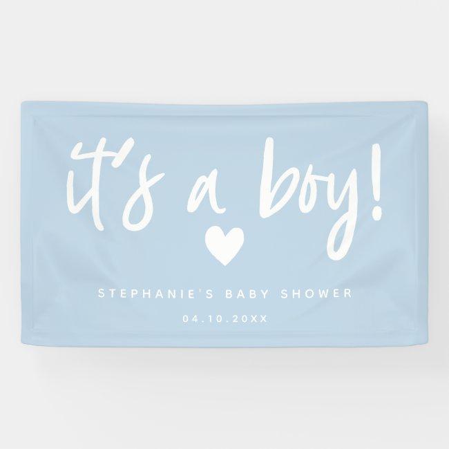 it's a boy modern blue baby shower banner