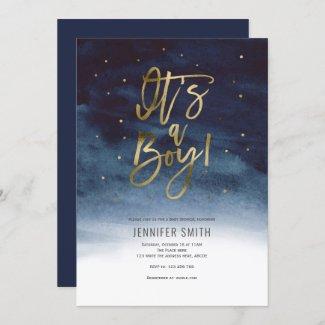 Modern Navy Blue & Gold Baby Shower Invitation, Its a boy