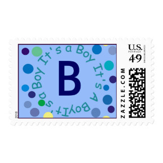"""It's A BOY Monogram """"B"""" Can be Changed by you Postage Stamps"""
