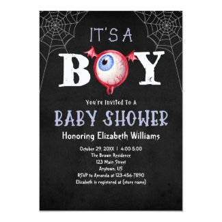 It's A Boy Monster Eye Halloween Baby Shower Invitation
