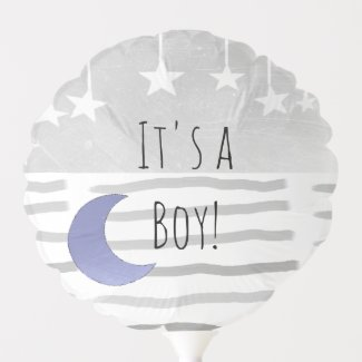 It's a Boy Moon and Star Themed Boy's Baby Shower Balloon