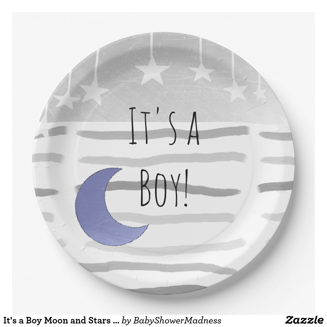 It's a Boy Moon and Stars Baby Shower Paper Plate