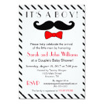 It's A Boy Mustache and Bowtie Couples Baby Shower Card