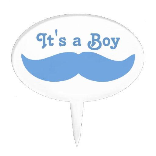 Its A Boy Mustache Baby Cake Pick Zazzle