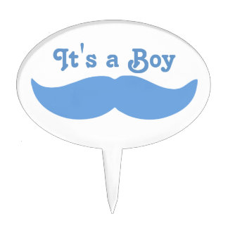 Its A Boy Mustache Baby Cake Topper