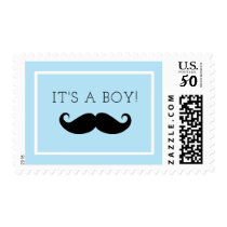 It's A Boy Mustache Baby Shower Postage