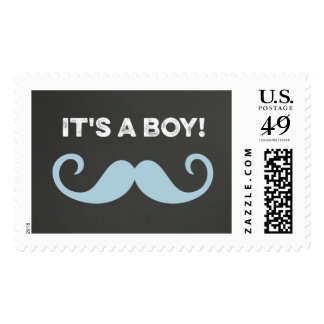 It's A Boy Mustache Baby Shower Postage Stamps