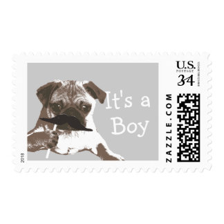 It's a Boy Mustache Pug Baby Shower Stamps