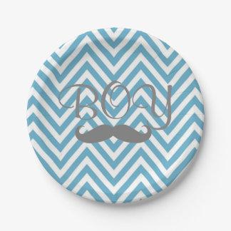 It's a Boy Mustache Theme Baby Shower Paper Plates