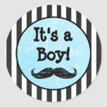 It's a boy, Mustache Themed Baby Shower Sticker