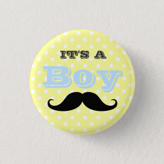 Its A Boy Mustache Yellow and Blue Baby Shower Button