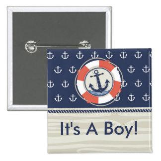 It's A Boy Nautical Anchor Button