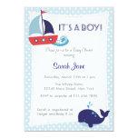 "It's A Boy Nautical Sailboat Baby Shower Invite 5"" X 7"" Invitation Card"