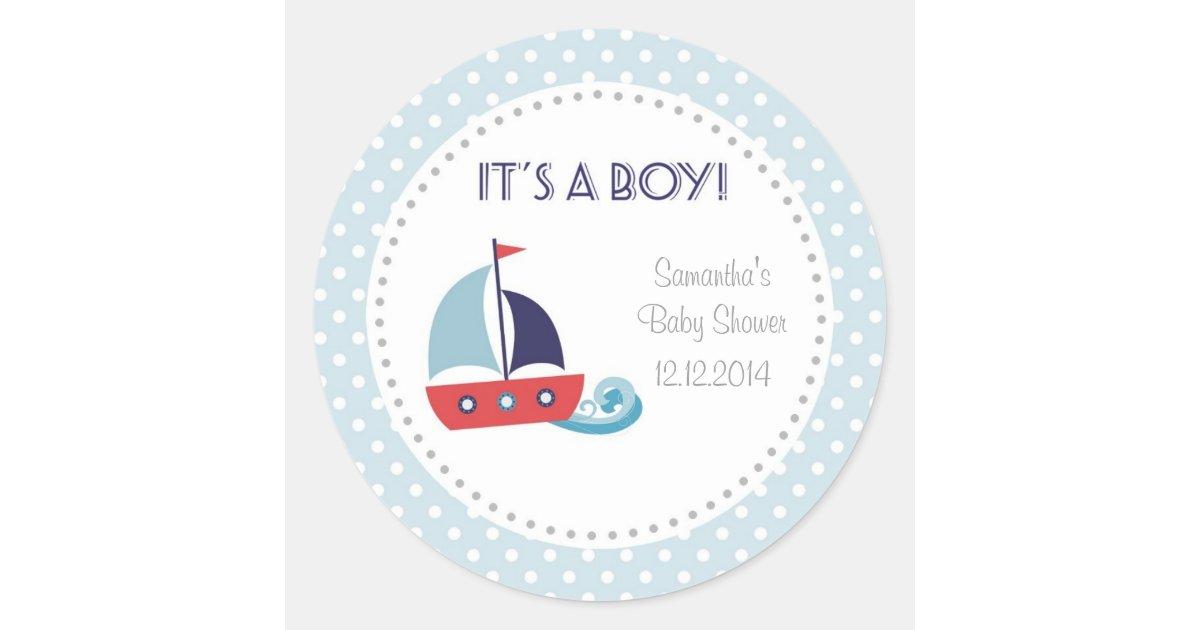 It's A Boy Nautical Sailboat Baby Shower Stickers   Zazzle