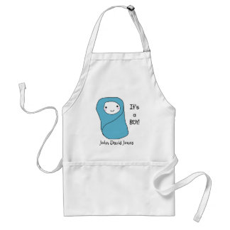 It's a Boy New Baby Birth Announcement Adult Apron