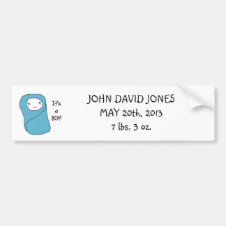 It's a Boy New Baby Birth Announcement Bumper Sticker