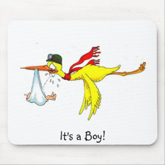 It's a Boy  New baby boy Peeing on the stork! Mouse Pad