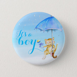 Its a boy new baby cat shower gender reveal button
