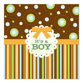 It's a Boy Orange & Blue Stitches Baby Shower Card