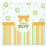 It's a Boy Orange & Blue Stitches Baby Shower Invitation