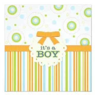 It's a Boy Orange & Blue Stitches Baby Shower 5.25x5.25 Square Paper Invitation Card