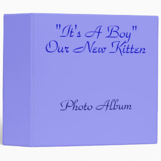 """'it's A Boy"""" Our New Kitten babybook in Blue 3 Ring Binder"""