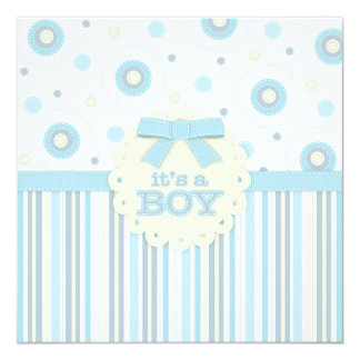 It's a Boy Pastel in Blue Stitches Baby Shower 5.25x5.25 Square Paper Invitation Card