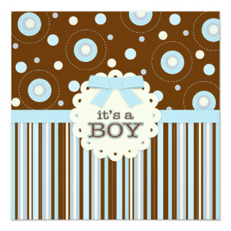"""It's a Boy Pastel in Blue Stitches Baby Shower 5.25"""" Square Invitation Card"""
