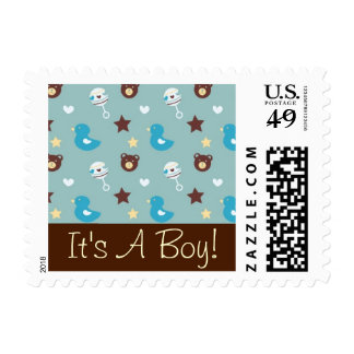 It's a Boy - Pattern With Cute Toys Stamps