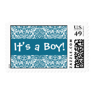 It's a Boy! Peacock and White Damask Postage